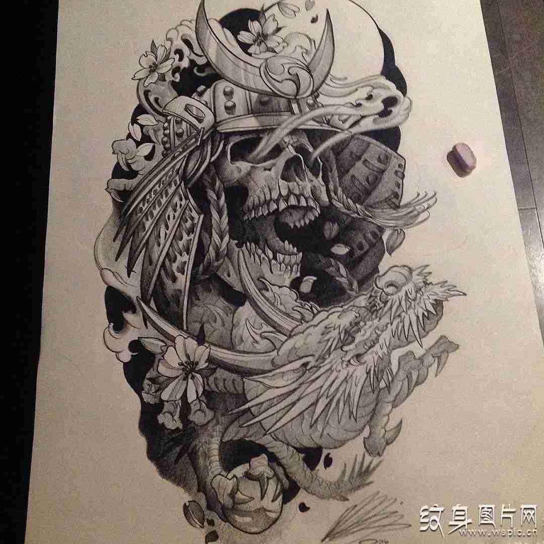 鬼武士纹身图案及手稿,日式纹身中的经典鬼神图片
