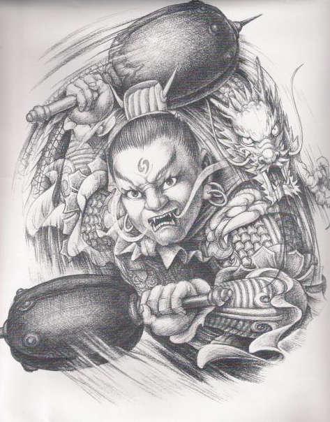 黑白无常漫画款纹身图案图片